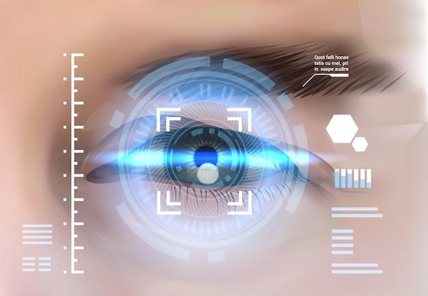 Concetto di controllo di accesso di tecnologia di identificazione biometrica del sistema di riconoscimento della retina dell'occhio