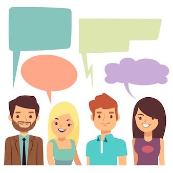 Concetto di conversazione con le persone e le bolle di pensiero vuoto.