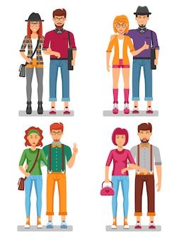 Concetto di coppie di hipster di giovani alla moda