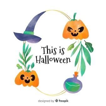 Concetto di cornice dell'acquerello con tema di halloween