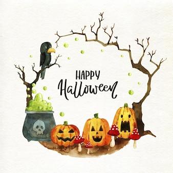 Concetto di cornice di halloween dell'acquerello