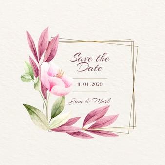 Concetto di cornice floreale di nozze