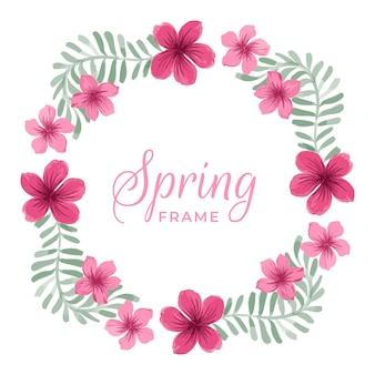Concetto di cornice floreale primavera dell'acquerello