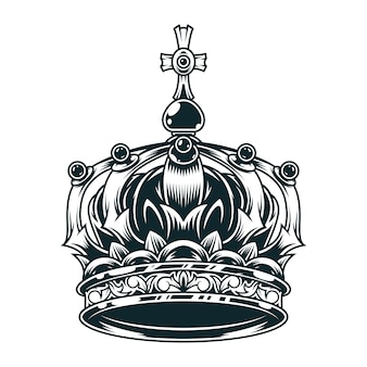 Concetto di corona reale ornato d'epoca