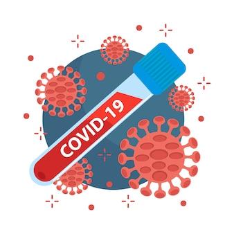 Concetto di coronavirus covid-19. virus e batteri