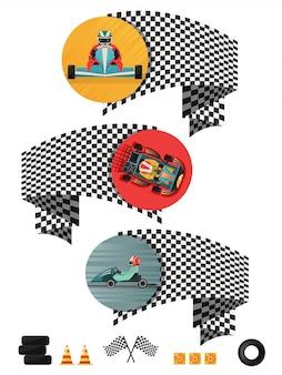 Concetto di corse di kart con bandiera a scacchi