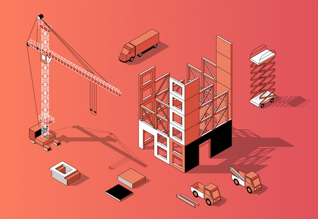 Concetto di costruzione isometrica 3d, esterno di costruzione