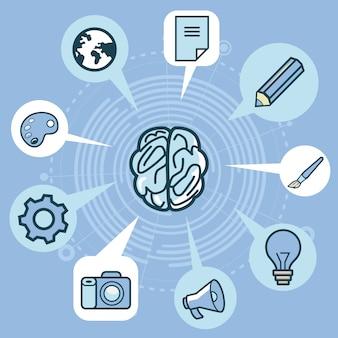 Concetto di creatività di vettore - cervello ed elementi nel colore blu