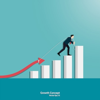 Concetto di crescita del business con un grafico freccia verso l'alto