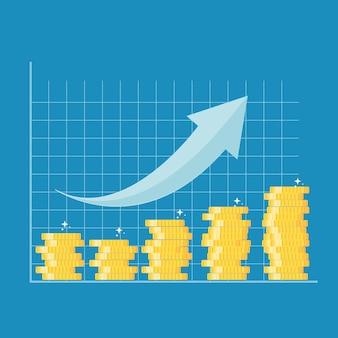 Concetto di crescita finanziaria. performance finanziaria del roi di ritorno sull'investimento con freccia. illustrazione