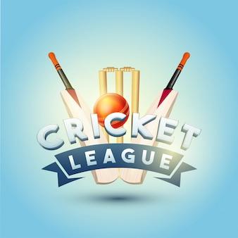 Concetto di cricket league con pipistrelli, palla e stoppini wicket su sfondo blu lucido blu.