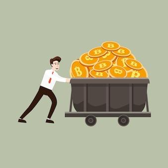 Concetto di criptovaluta con minatore e monete di uomo d'affari. uomo d'affari tira un carrello pieno di contanti bitcoin mio, stile cartone animato
