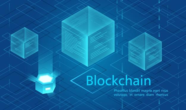 Concetto di criptovaluta e blockchain, centro dati alimentato, illustrazione isometrica di archiviazione dati cloud.