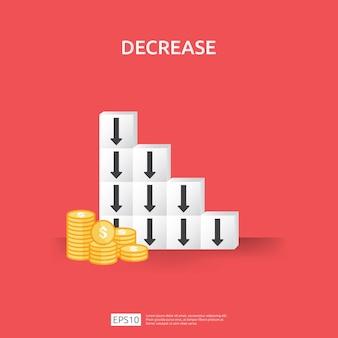 Concetto di crisi aziendale. i soldi cadono con il simbolo di diminuzione della freccia sul blocco di accatastamento. calo di allungamento dell'economia, fallimento globale perduto. riduzione decrescente dei costi o perdita di guadagno con le monete da un mucchio di dollari