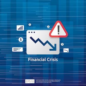 Concetto di crisi delle finanze di affari con il punto esclamativo attento. il grafico dei soldi cade simbolo. la freccia diminuisce l'economia allungando la caduta crescente. declino fallito perso. riduzione dei costi. perdita di reddito