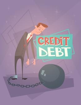 Concetto di crisi di finanza di debito di credito delle gambe rilegate a catena dell'uomo di affari