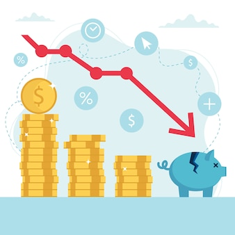 Concetto di crisi economica, grafico del mercato azionario che cade, perdita di denaro.