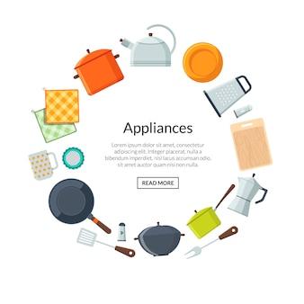 Concetto di cucina e cucina. blocco per grafici arrotondato utensili da cucina di vettore con modello di testo