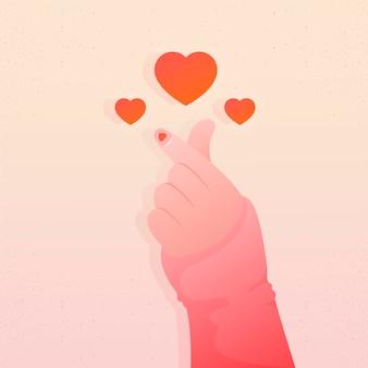 Concetto di cuore dito sfumato