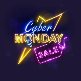 Concetto di cyber lunedì con design al neon