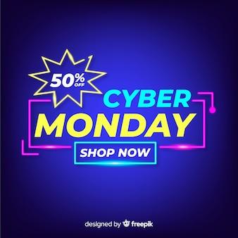 Concetto di cyber lunedì con sfondo al neon