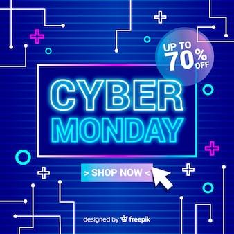 Concetto di cyber lunedì con sfondo design piatto