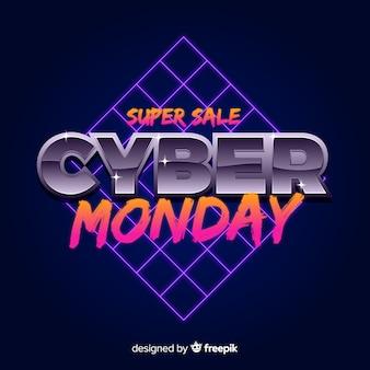 Concetto di cyber lunedì con sfondo futuristico retrò