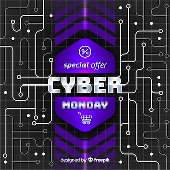 Concetto di cyber lunedì con sfondo realistico