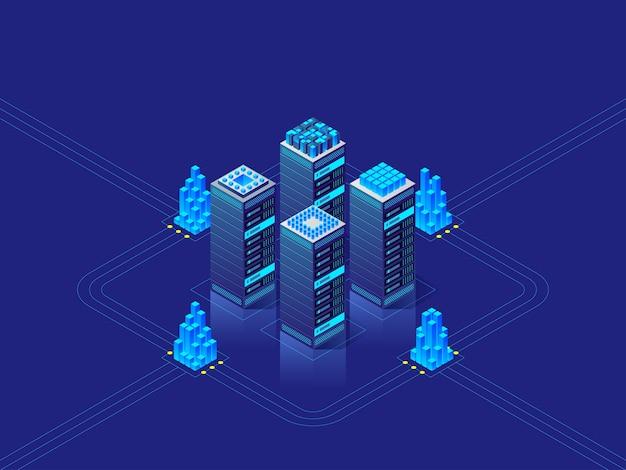 Concetto di data center. sfondo astratto ad alta tecnologia per sito web, intestazione, banner. illustrazione isometrica