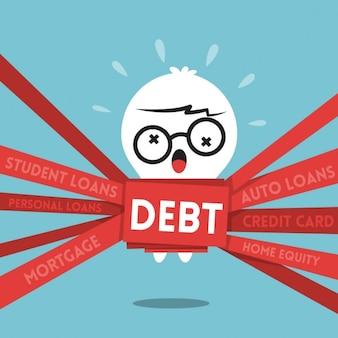 Concetto di debito cartone animato con un uomo avvolto in nastro rosso