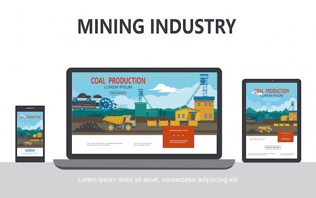 Concetto di design adattivo di industria mineraria piatta con carri di autocarro con cassone ribaltabile della ruota di benna della fabbrica industriale che trasportano carbone sugli schermi del laptop del telefono tablet isolati