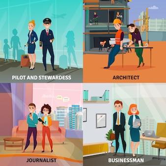 Concetto di design del caso professioni