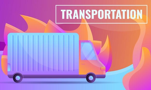 Concetto di design del fumetto di una società di trasporti con una macchina