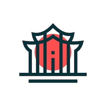 Concetto di design del logo del tempio. logo universale del tempio.