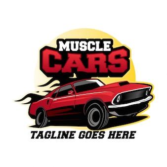 Concetto di design del logo di muscle car
