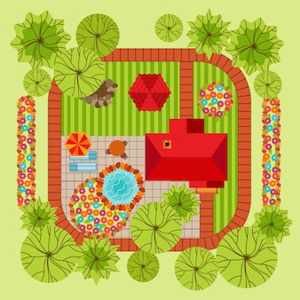 Concetto di design del paesaggio stile piano