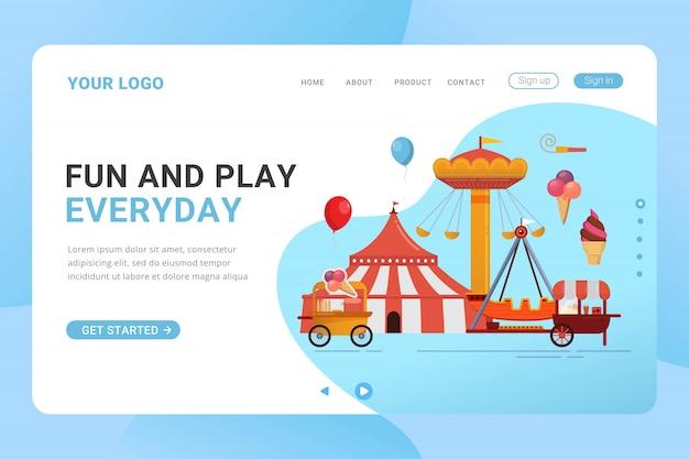 Concetto di design del parco divertimenti del modello di pagina di destinazione