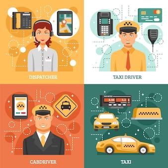Concetto di design del servizio taxi