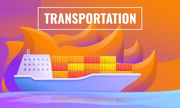 Concetto di design del trasporto dalla nave da carico