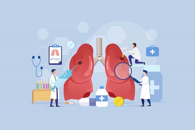 Concetto di design del trattamento delle malattie polmonari con persone piccole
