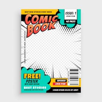Concetto di design della copertina della pagina del libro di fumetti