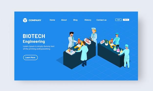 Concetto di design della pagina di destinazione di biotech engineering