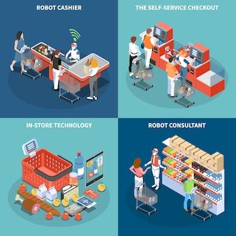 Concetto di design della tecnologia negozio 2x2 con robot consulente robot cassiere self service check quadrati icone quadrate isometriche