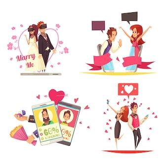 Concetto di design di amore virtuale