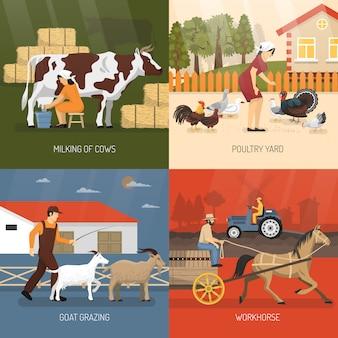 Concetto di design di animali da fattoria