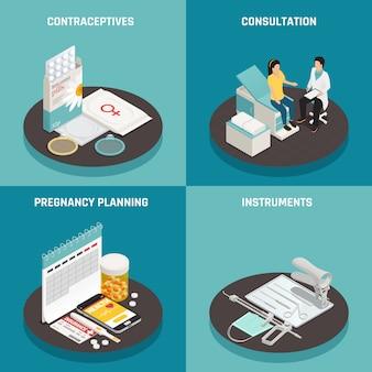 Concetto di design di ginecologia isometrica