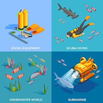 Concetto di design di immersioni subacquee