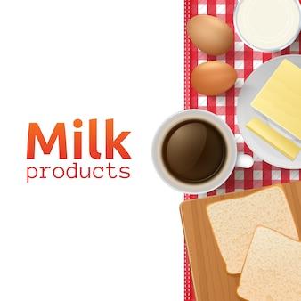 Concetto di design di latte e latticini con colazione sana e salutare