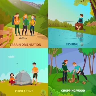 Concetto di design di persone campeggio