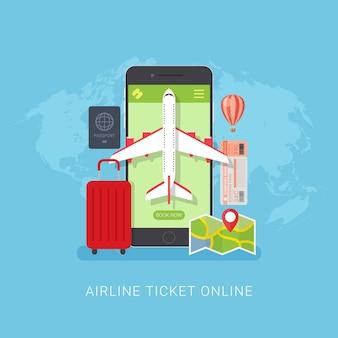Concetto di design di prenotazione online biglietto aereo